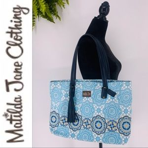 Matilda Jane Blue Me Away Weekend Tote Bag Purse